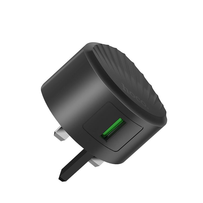 hoco c68b shell single usb port qc30 charger uk plug overview