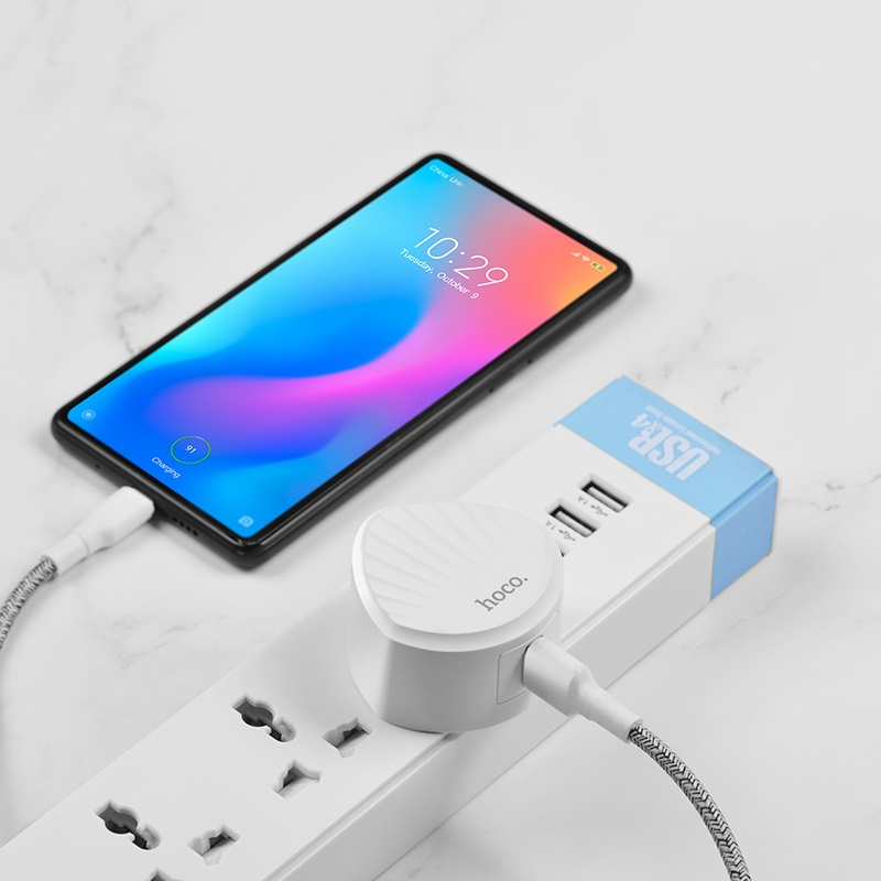 hoco c68b shell single usb port qc30 charger uk plug phone