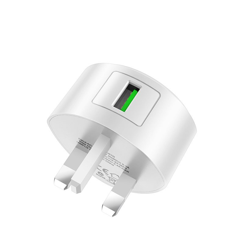 hoco c68b shell single usb port qc30 charger uk plug pins