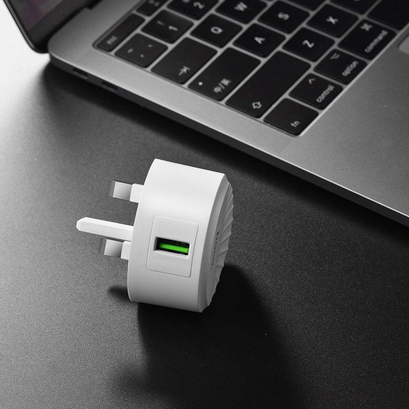 hoco c68b shell single usb port qc30 charger uk plug port