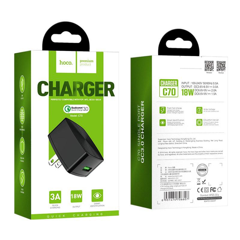 hoco c70 cutting edge single usb port qc30 charger us package