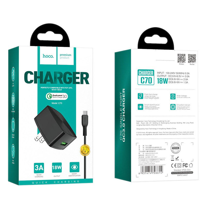 hoco c70 cutting edge single usb port qc30 charger us set micro usb package
