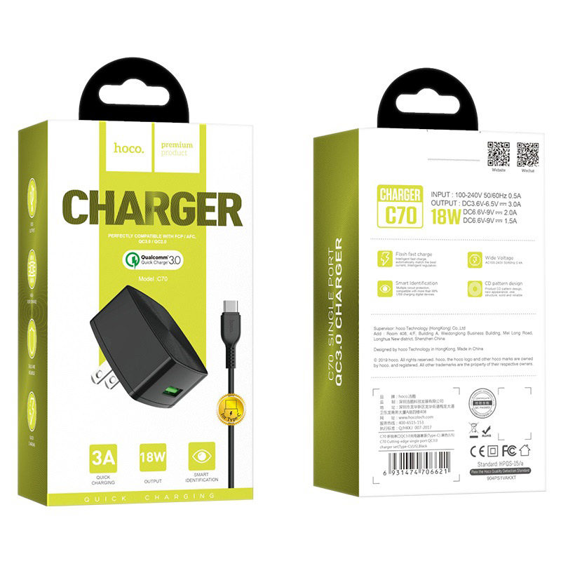 hoco c70 cutting edge single usb port qc30 charger us set type c package