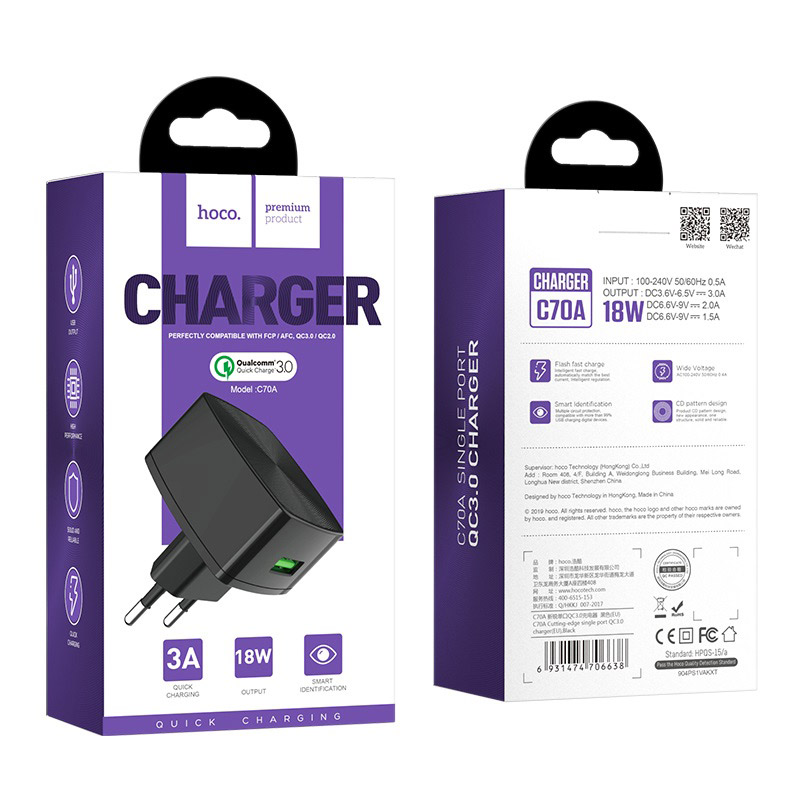hoco c70a cutting edge single port qc30 charger eu package