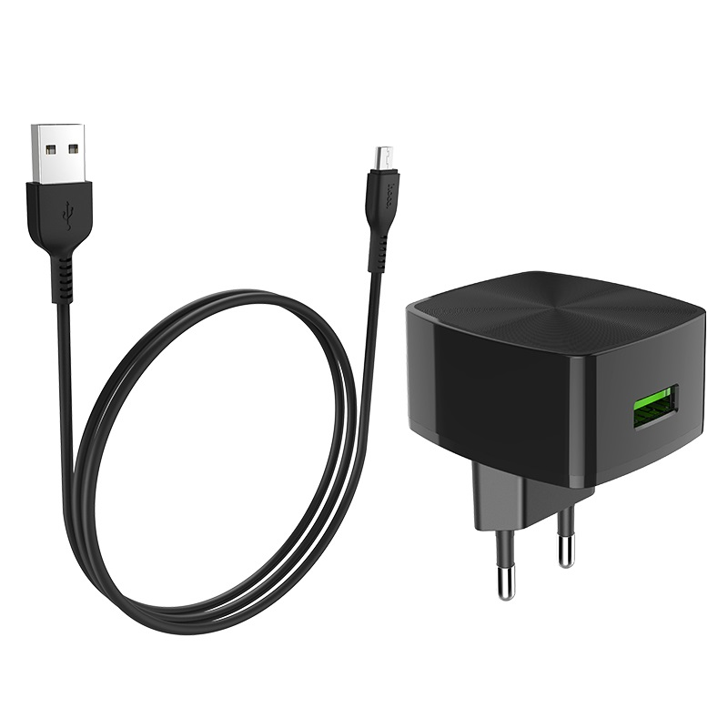 hoco c70a cutting edge single port qc30 charger eu set micro usb rounded