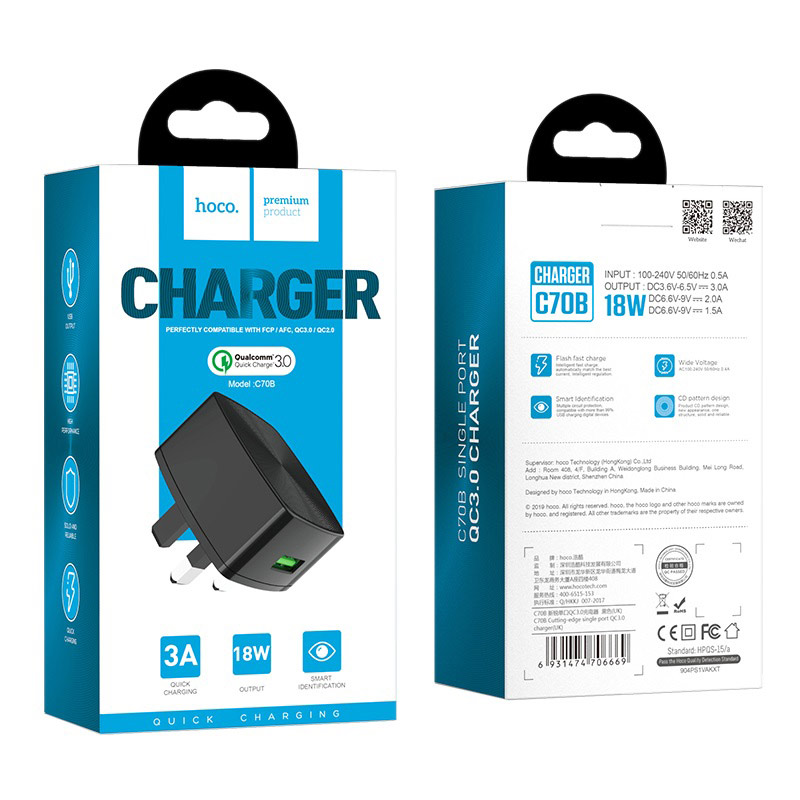 hoco c70b cutting edge single usb port qc30 charger uk package