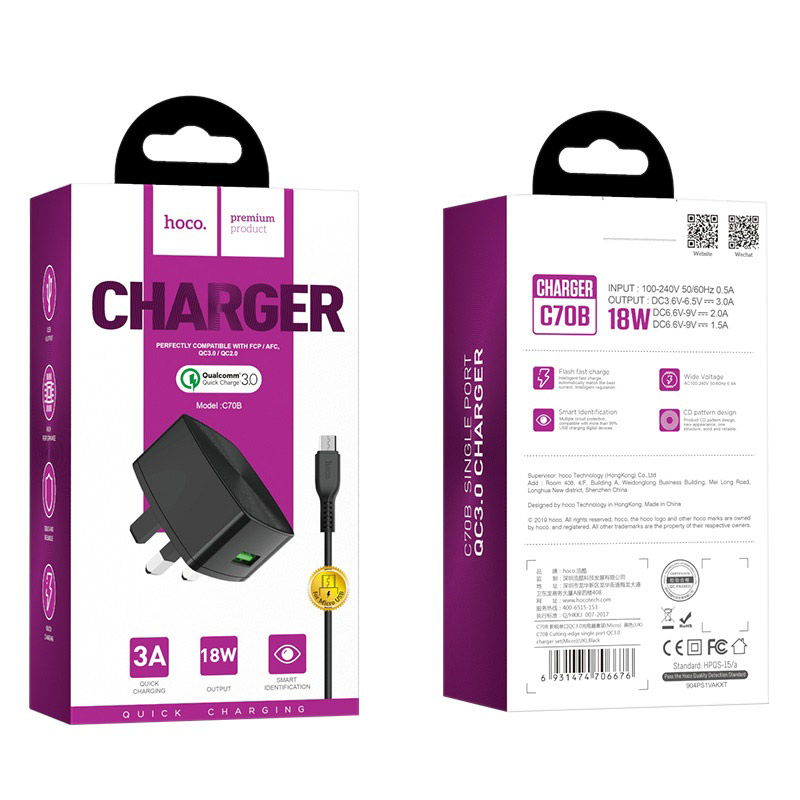 hoco c70b cutting edge single usb port qc30 charger uk set micro usb package