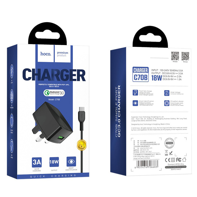 hoco c70b cutting edge single usb port qc30 charger uk set type c package