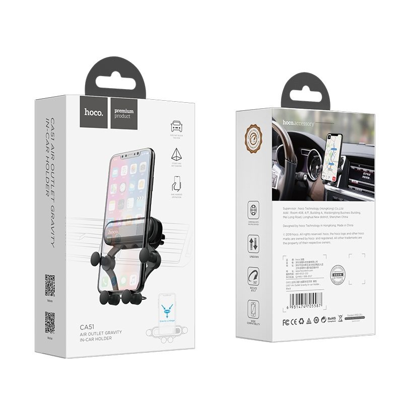 hoco ca51 gravity in car air outlet holder package