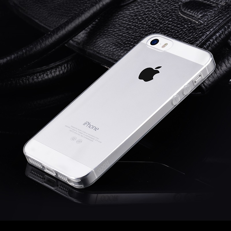 hoco crystal clear series tpu protective case for iphone 5 5s se silver phone