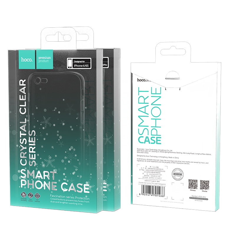 hoco crystal clear series tpu protective case for iphone 6 6s plus package