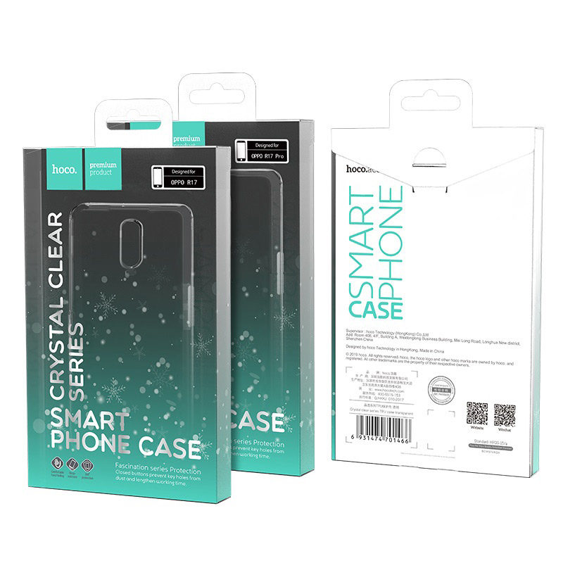 hoco crystal clear series tpu protective case for oppo r17 r17pro package