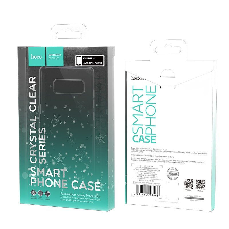 hoco crystal clear series tpu protective case for samsung galaxy note 8 packages
