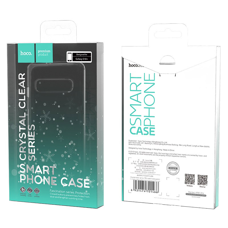 hoco crystal clear series tpu protective case for samsung galaxy s10 plus packages