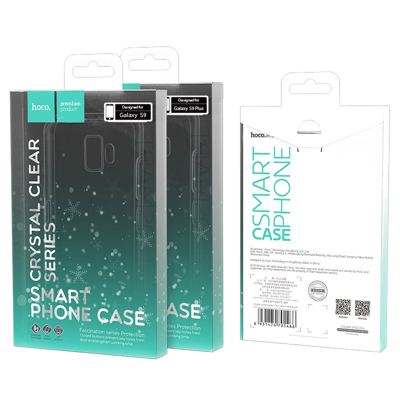 hoco crystal clear series tpu protective case for samsung galaxy s9 s9 plus packages