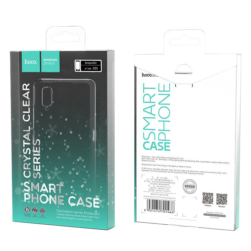 hoco crystal clear series tpu protective case for vivo x23 packages