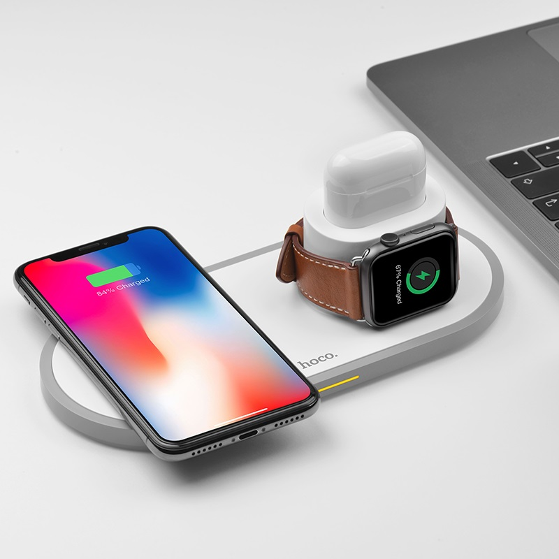 hoco cw21 wisdom 3in1 wireless charger charging