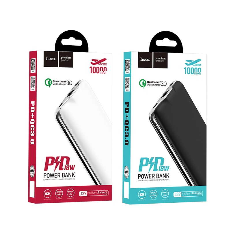 hoco j39 quick energy pd qc30 mobile power bank 10000mah packages