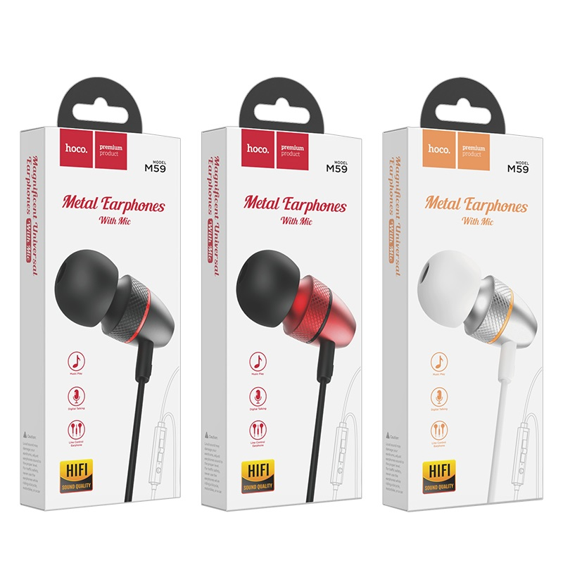 hoco m59 magnificent universal earphones with mic package