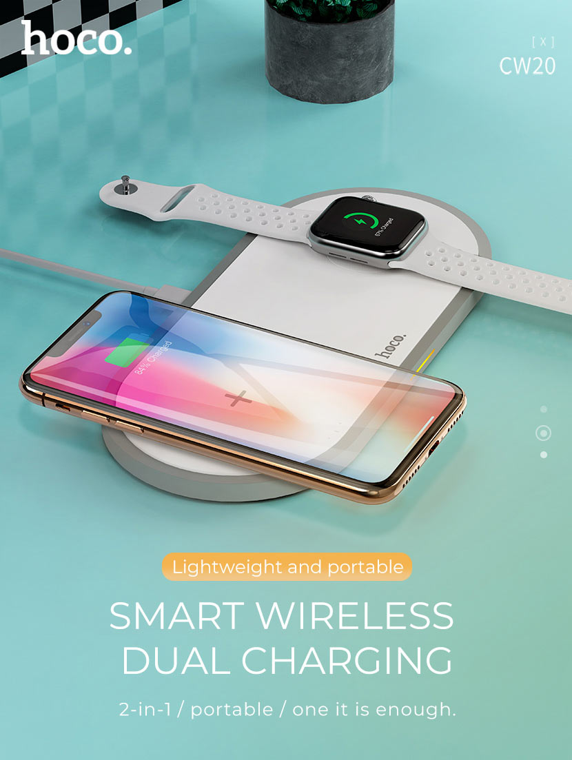 hoco news cw20 wisdom 2in1 wireless charger main en