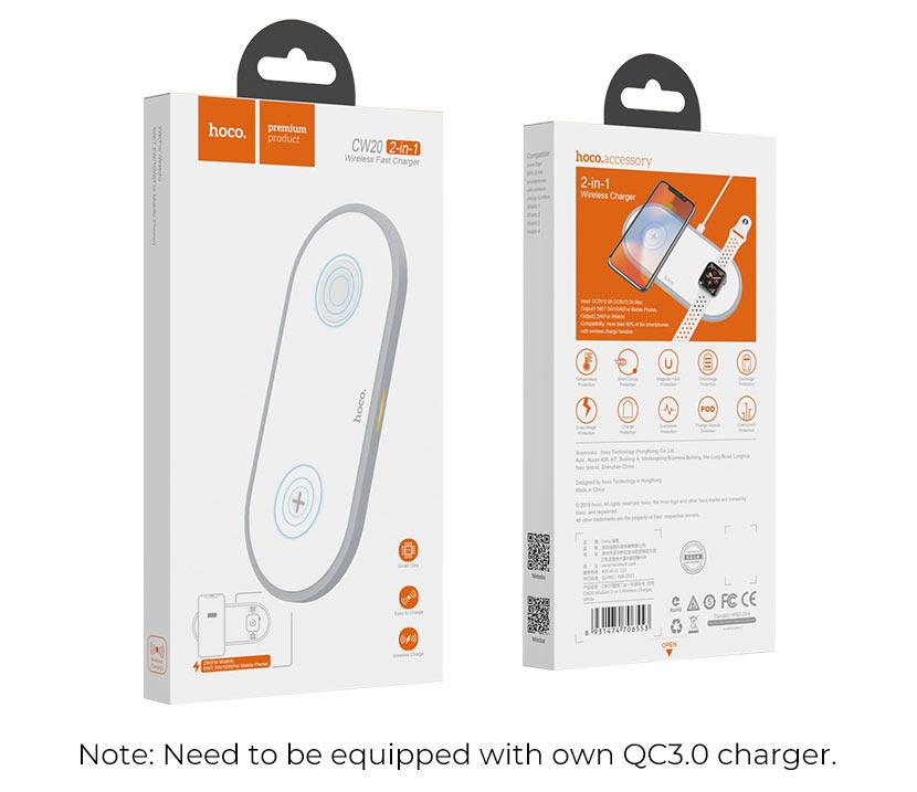 hoco news cw20 wisdom 2in1 wireless charger package en
