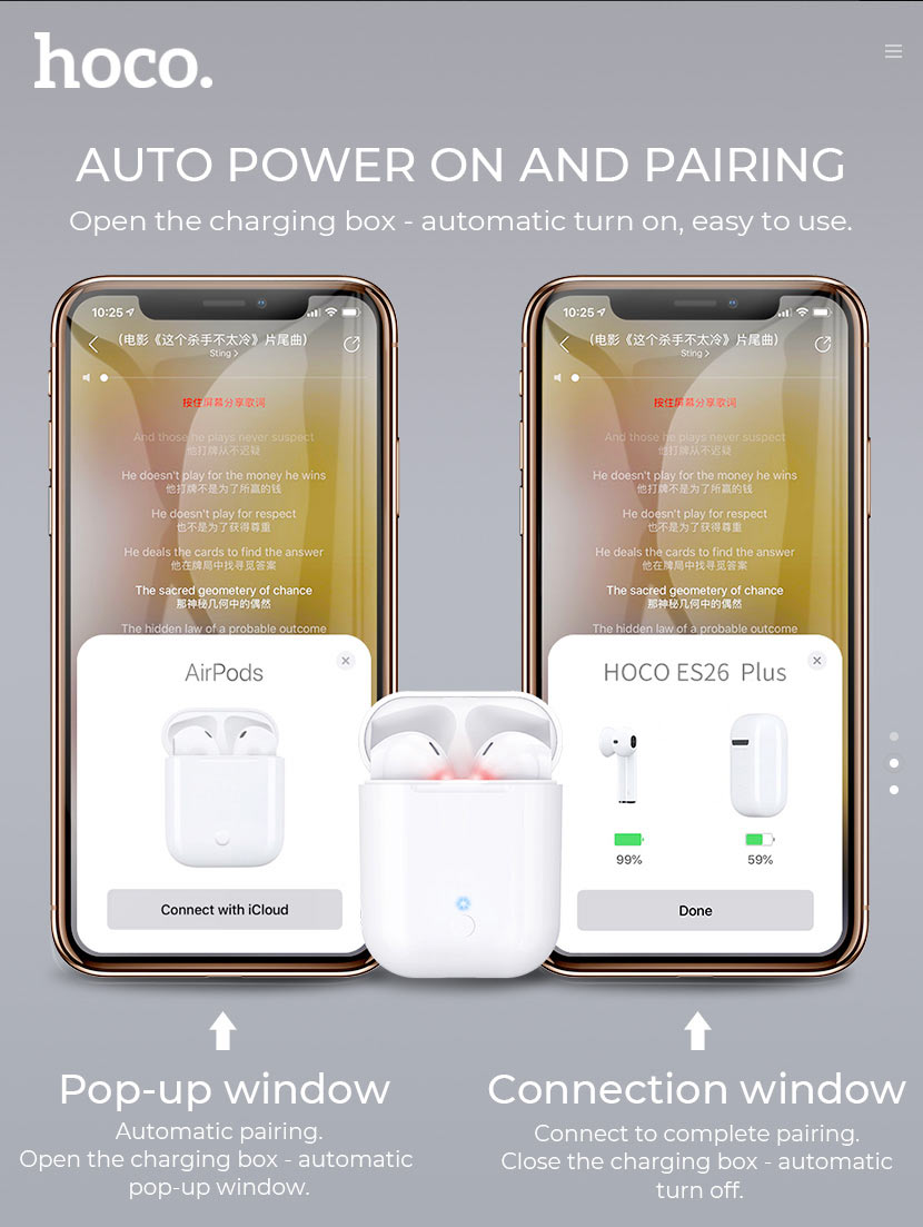 hoco news es26 original series apple wireless headset pairing en