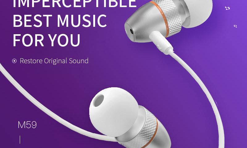 hoco news m59 magnificent universal earphones with mic banner en