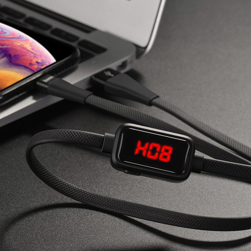 hoco s4 charging data cable with timing display for lightning interior