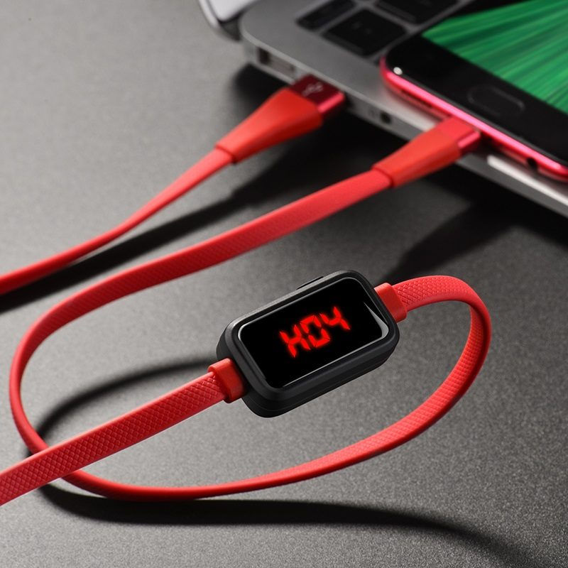 hoco s4 charging data cable with timing display for micro usb red charging