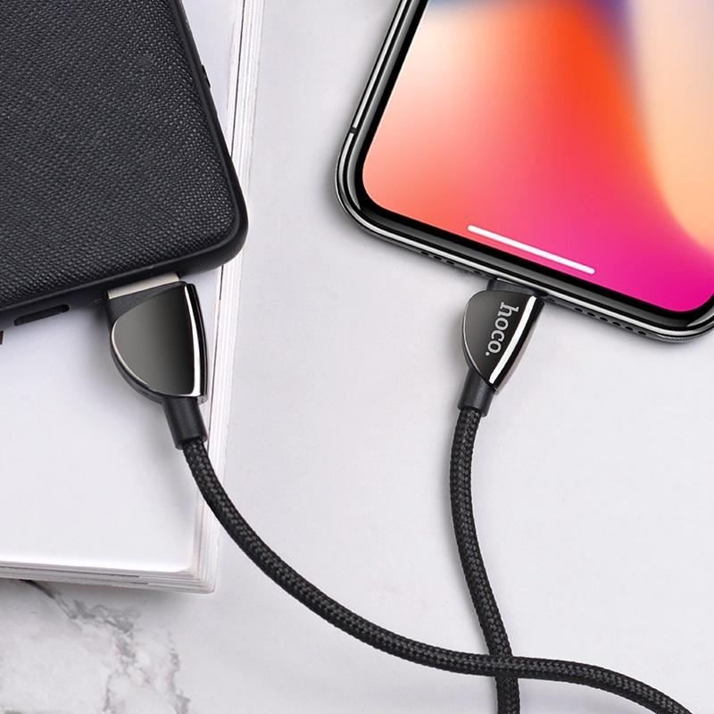 hoco u62 simple charging data cable for lightning interior black