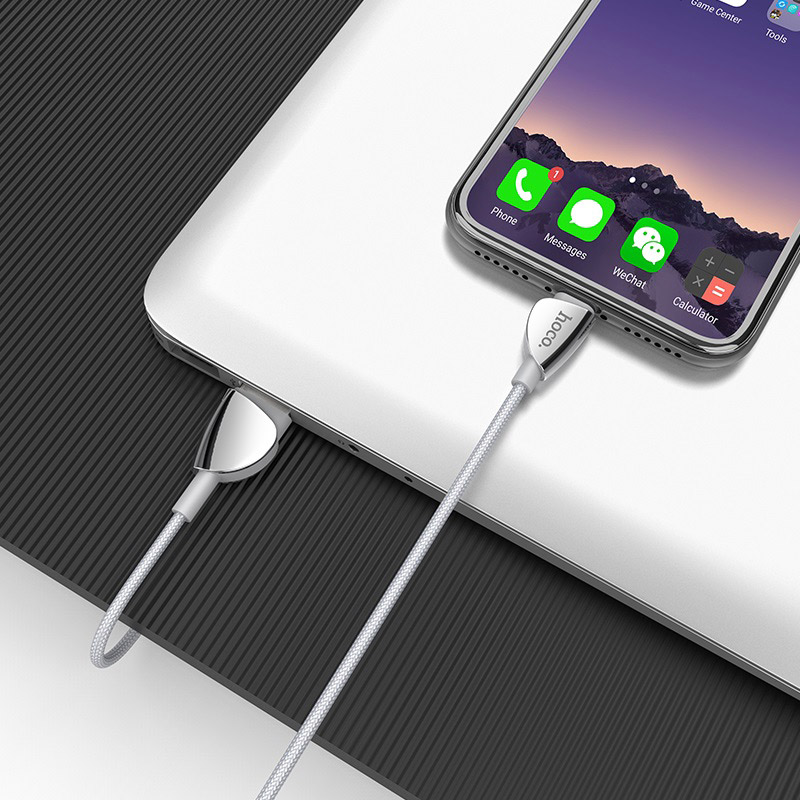 hoco u62 simple charging data cable for micro usb silver charge