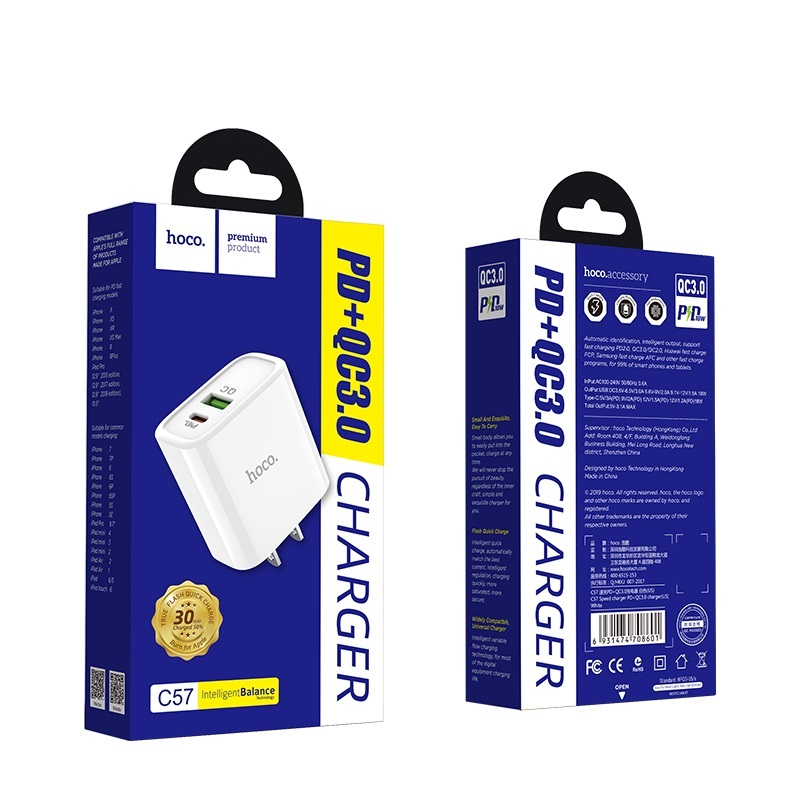 hoco c57 speed charger pd qc30 charger us package