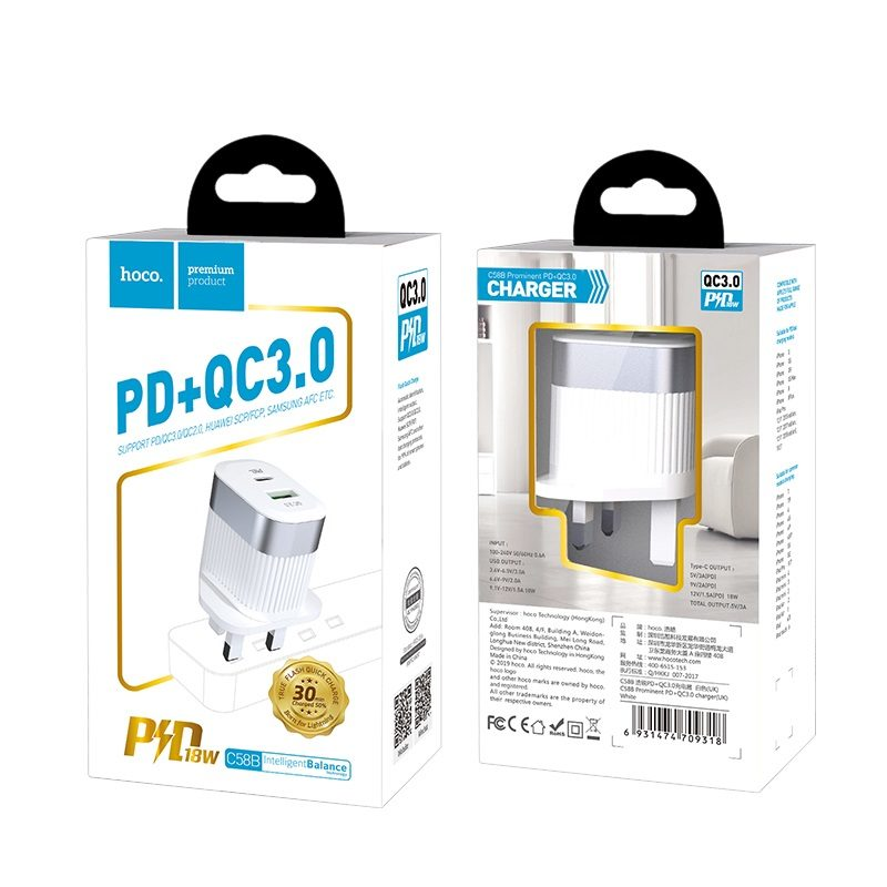 hoco c58b prominent pd qc30 wall charger uk package