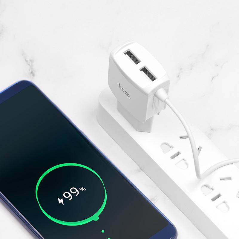 hoco c59 mega joy double port charger us type c charging