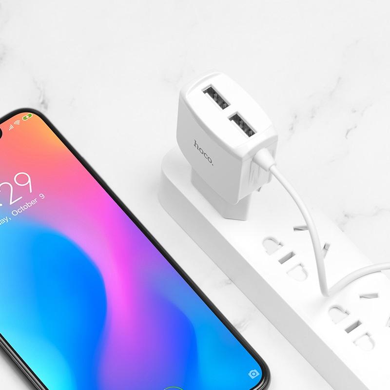 hoco c59a mega joy double port wall charger eu micro usb charging