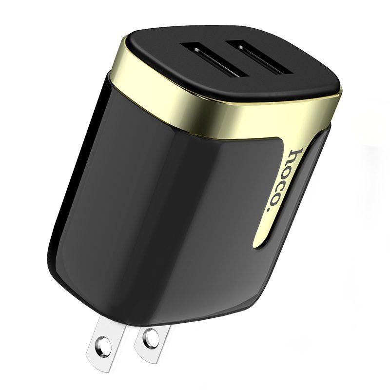 hoco c64 engraved зарядный адаптер с двумя портами us usb