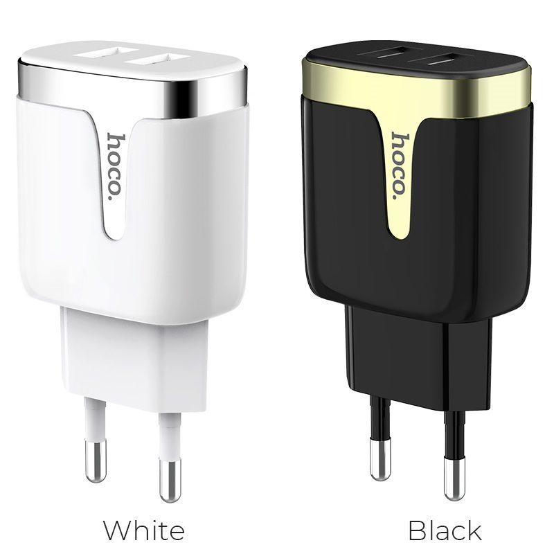 hoco c64a engraved dual port charging adapter eu colors