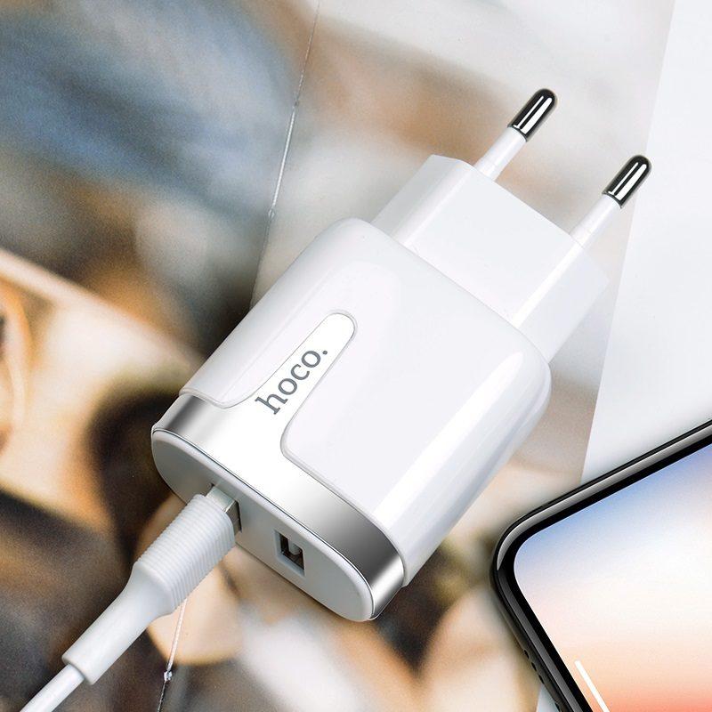 hoco c64a engraved dual port charging adapter eu interior