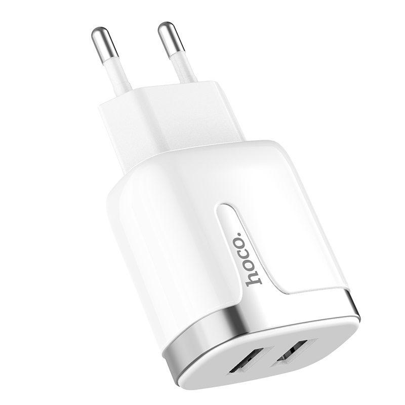 hoco c64a engraved dual port charging adapter eu logo