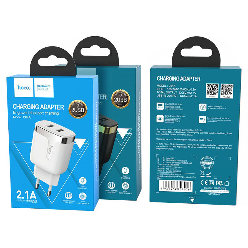 hoco c64a engraved dual port charging adapter eu package