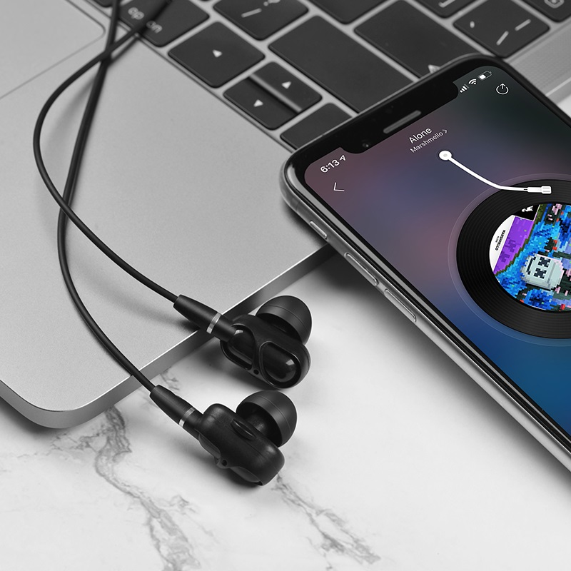 hoco m62 dazzling dual moving coil wired earphones with mic interior black