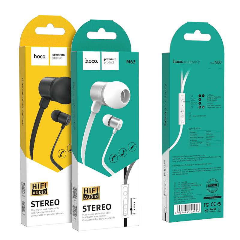 hoco m63 ancient sound earphones with mic packages
