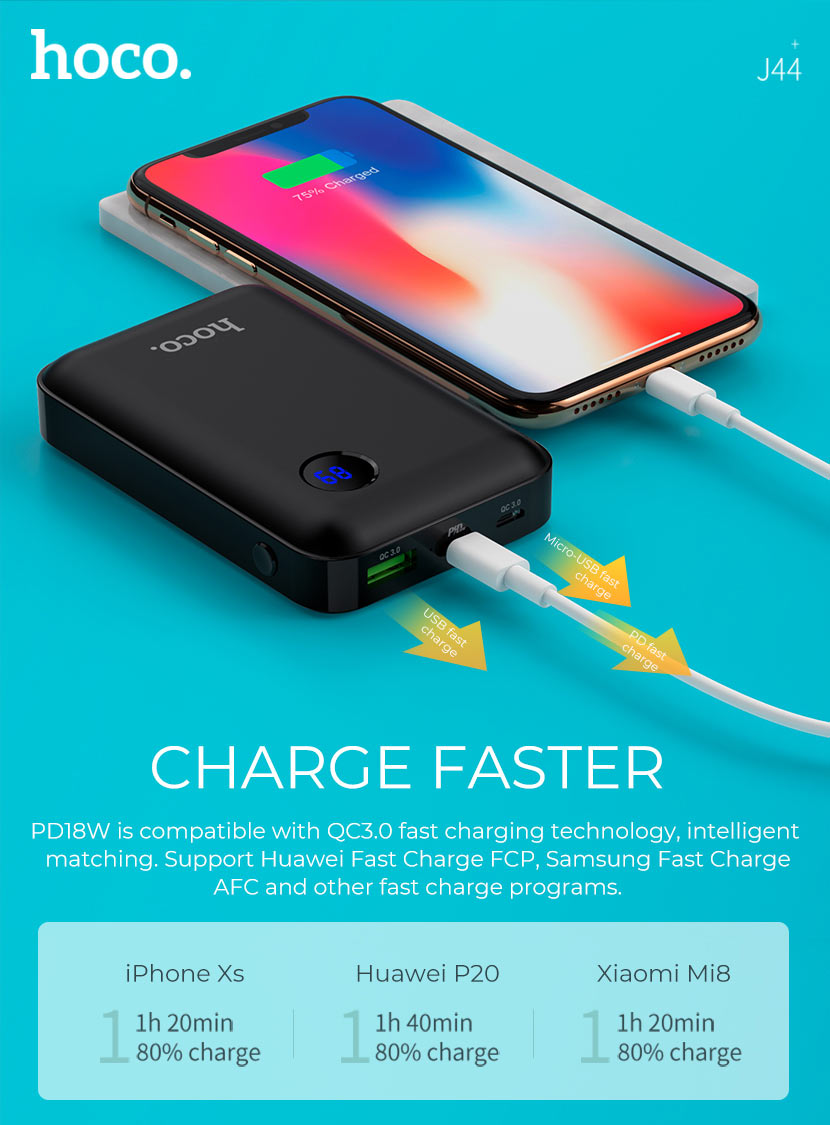hoco news j44 pd qc30 mobile power bank 10000mah charge en