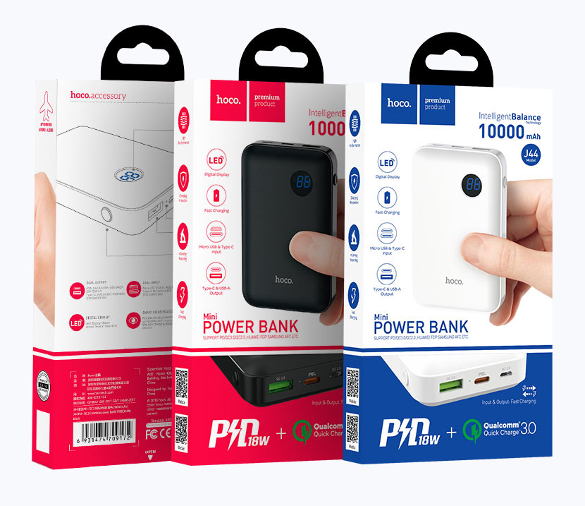 hoco news j44 pd qc30 mobile power bank 10000mah packages