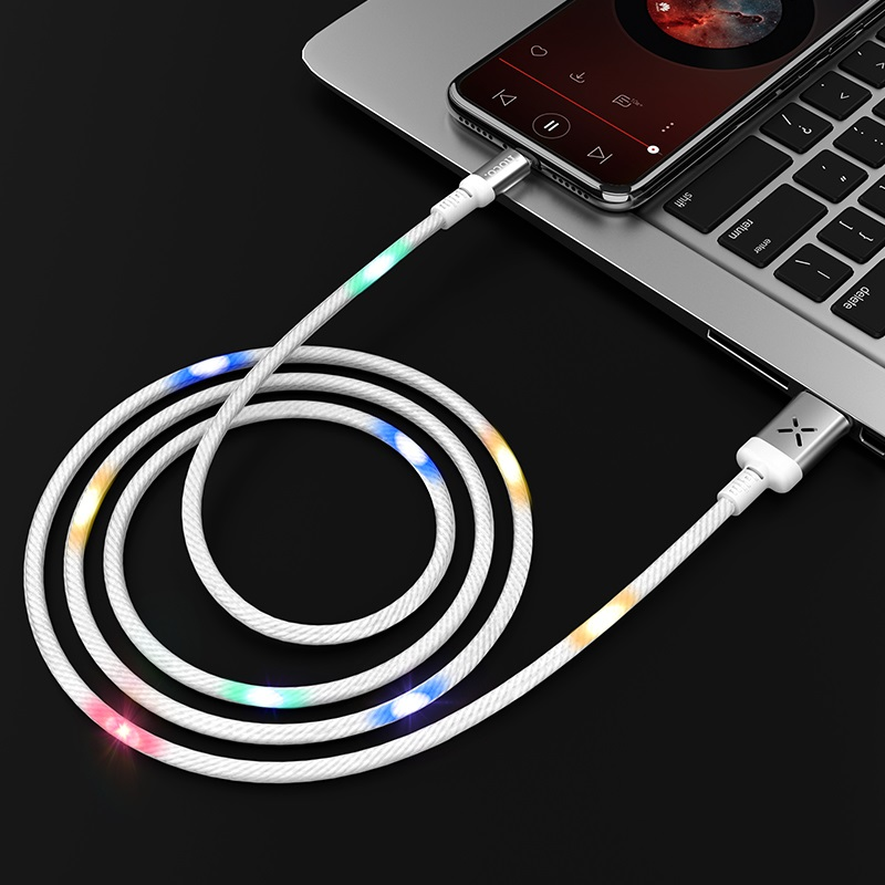 hoco u63 spirit charging data cable for lightning interior white