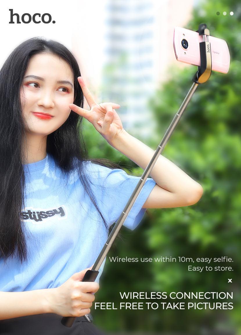 hoco news k12 lisa wireless selfie stick connection en