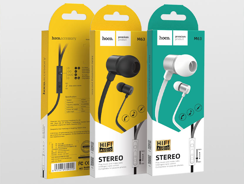 hoco news m63 ancient sound earphones with mic packages