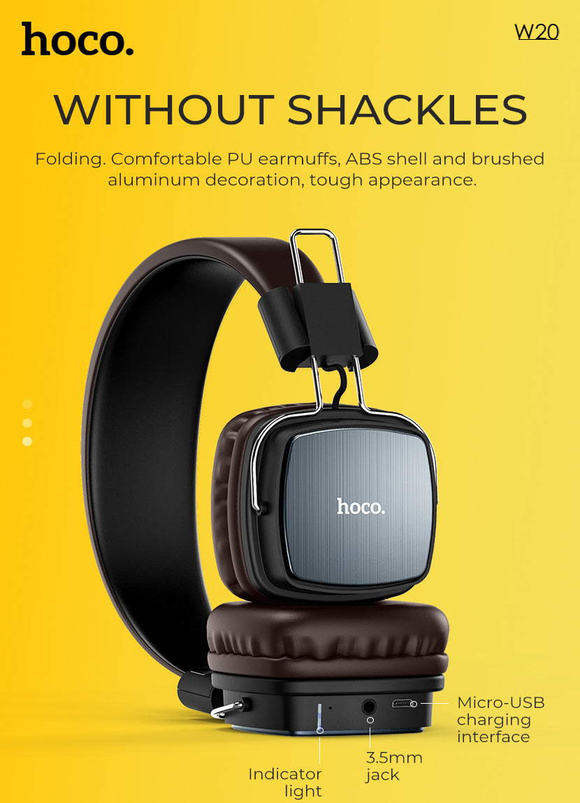hoco news w20 gleeful wireless headphones folding en