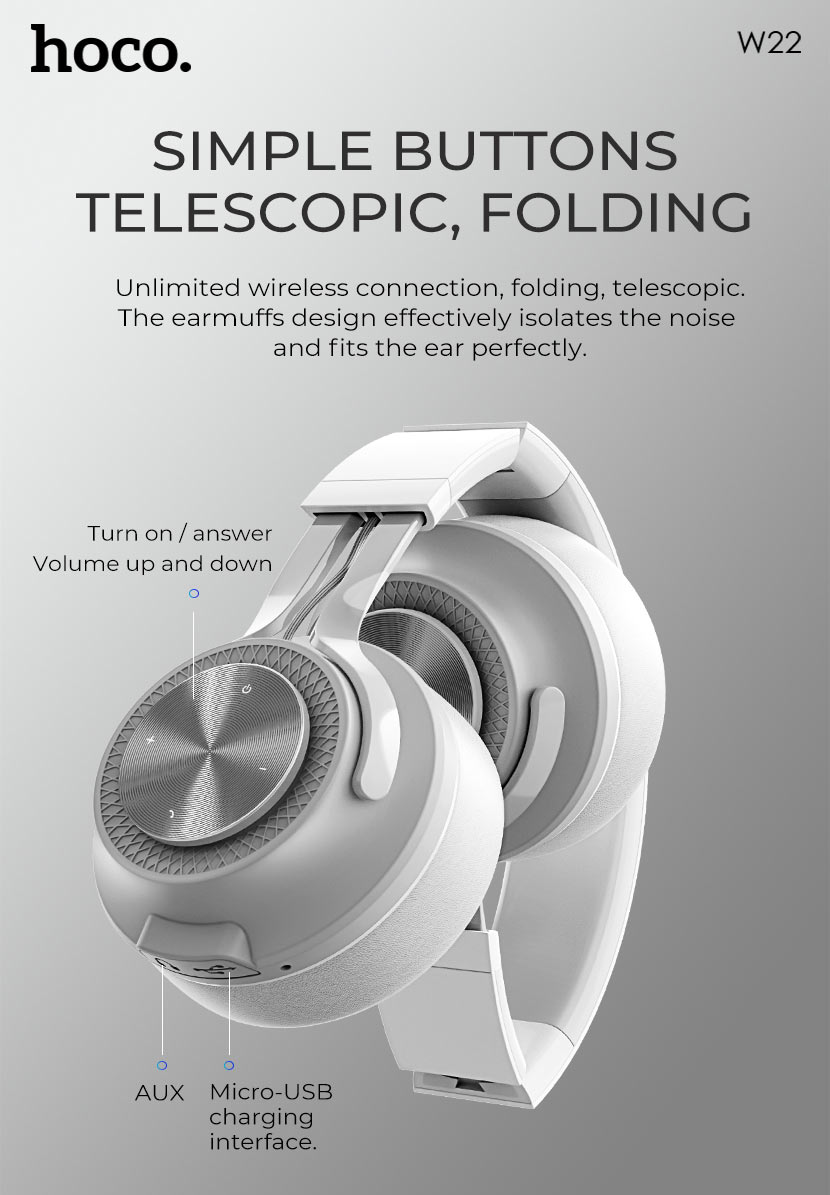 hoco news w22 talent sound wireless headphones button en