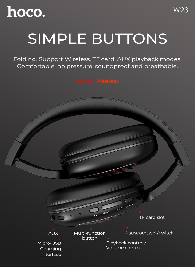 hoco news w23 brilliant sound wireless headphones buttons en